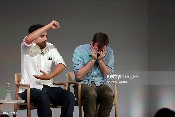 Actor/comedian Jake Johnson and writer/director Joe Swanberg speak on stage during Apple Store Soho presents Meet the Filmmaker Jake Johnson and Joe...