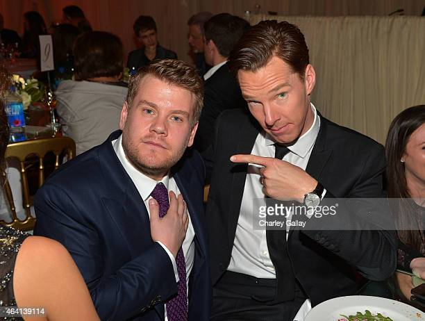 Actor/comedian James Corden and actor Benedict Cumberbatch attend The Weinstein Company's Academy Awards Nominees Dinner in partnership with Chopard...