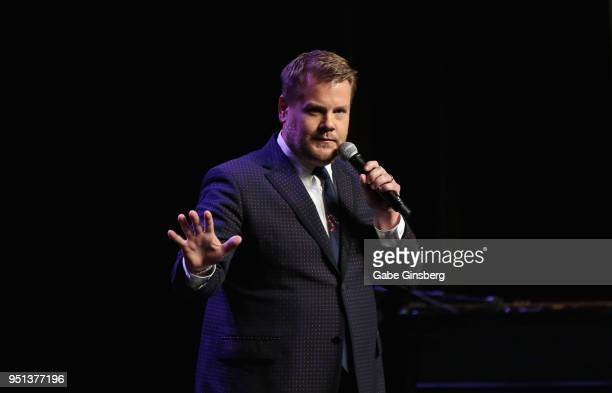 Actor/comedian James Corden speaks during the 2018 Will Rogers Pioneer of the Year Dinner Honoring Tom Cruise at Caesars Palace during CinemaCon the...