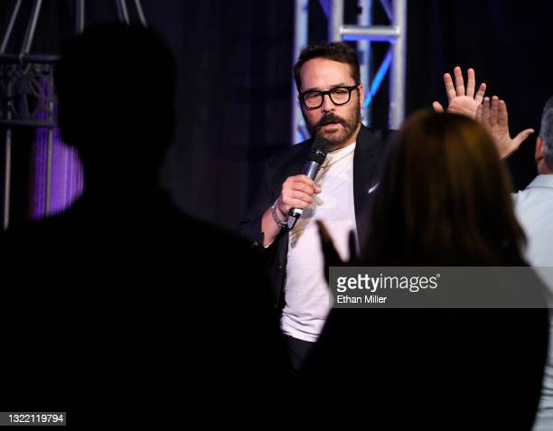 """Actor/comedian Jeremy Piven high-fives audience members after performing his stand-up comedy routine during the """"One Night Only of Great Comedy"""" show..."""