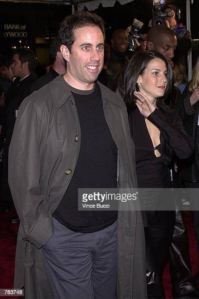 Actorcomedian Jerry Seinfeld and wife Jessica Sklar arrive for the premiere of the film Down To Earth February 12 2001 in Hollywood CA