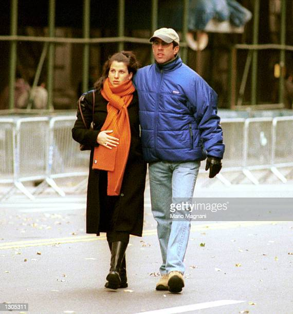 Actor/comedian Jerry Seinfeld and wife Jessica Sklar walk on Central Park West minutes before Marathon runners met with family members November 5...