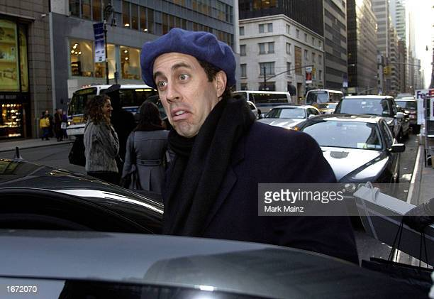 Actor/Comedian Jerry Seinfeld leaves Barney's after shopping with his wife Jessica Sklar December 4 2002 in New York City