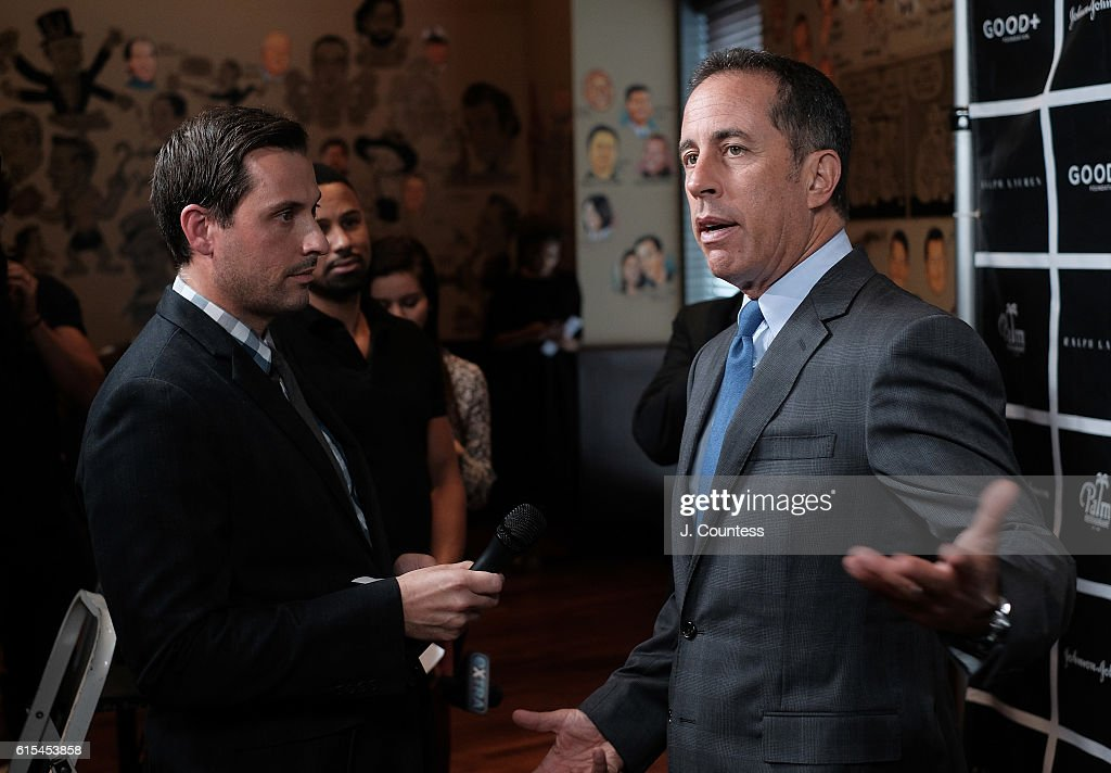Actor/comedian Jerry Seinfeld (R) speaks to the media at the 2016 Foundation Good+ New York Fatherhood Luncheon at The Palm Tribeca on October 18, 2016 in New York City.