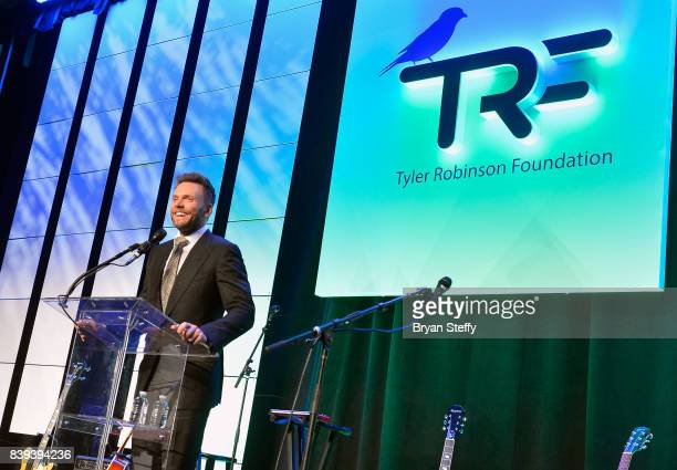 Actor/comedian Joel McHale speaks during the Tyler Robinson Foundation's 4th annual 'Believer Gala' at Caesars Palace on August 25 2017 in Las Vegas...