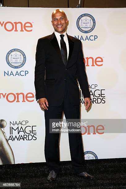 Actor/Comedian KeeganMichael Key poses in the press room during the 46th NAACP Image Awards presented by TV One at Pasadena Civic Auditorium on...