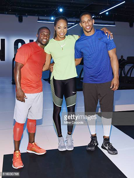 Actor/comedian Kevin Hart Olympic athlete Sanya RichardsRoss and professional football player Victor Cruz pose for a picture durning the Nike Live...