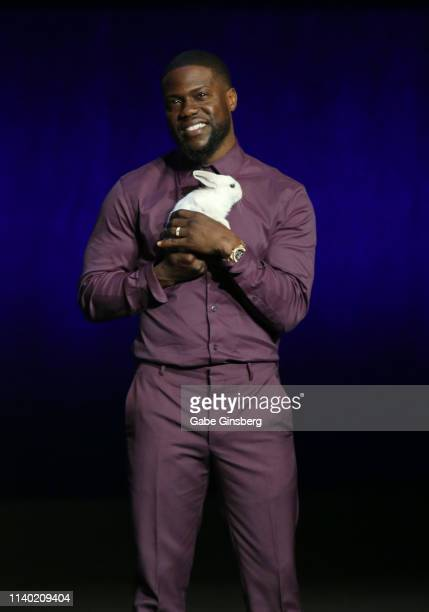 Actor/comedian Kevin Hart speaks during Universal Pictures special presentation during CinemaCon at The Colosseum at Caesars Palace on April 03 2019...