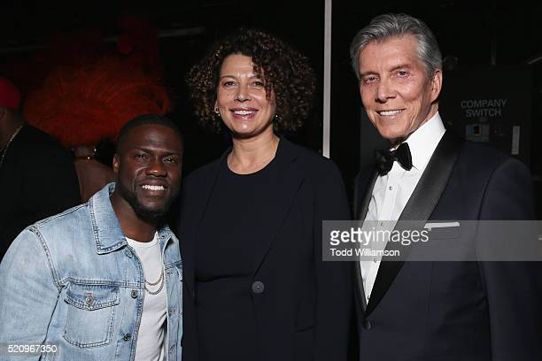 Actor/comedian Kevin HartUniversal Pictures Chairman Donna Langley and ring announcer Michael Buffer attend CinemaCon 2016 as Universal Pictures...
