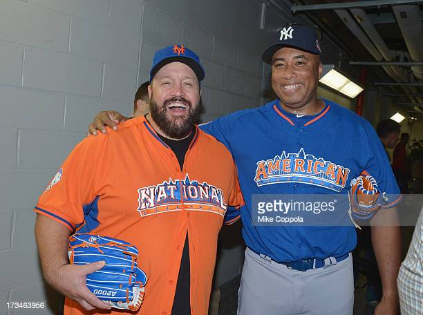 Actor/comedian Kevin James and former professional baseball player Bernie Williams attend the Taco Bell AllStar Legends Celebrity Softball Game at...