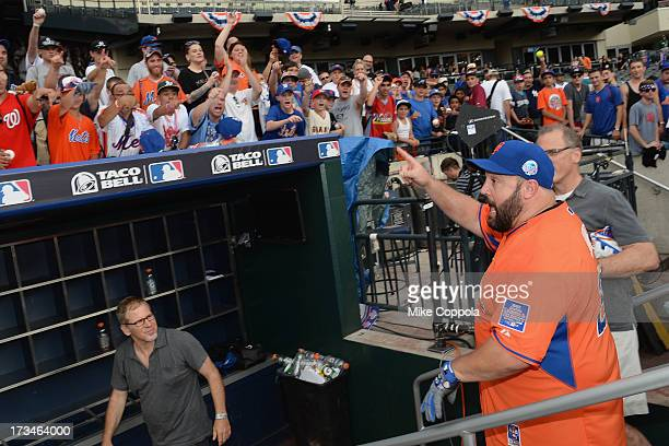 Actor/comedian Kevin James waves to fans at the Taco Bell AllStar Legends Celebrity Softball Game at Citi Field on July 14 2013 in New York City