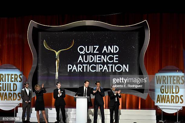 Actor/comedian Kumail Nanjiani listens as writers Ann Slichter Alex Chauvin Grant Taylor Dwight D Smith and Michael Agbabian accept the Quiz and...