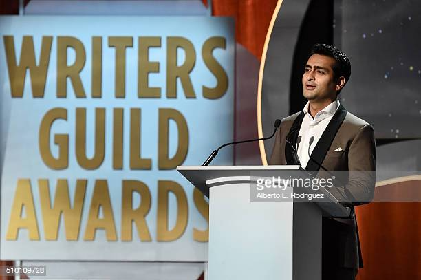 Actor/comedian Kumail Nanjiani speaks onstage during the 2016 Writers Guild Awards at the Hyatt Regency Century Plaza on February 13 2016 in Los...