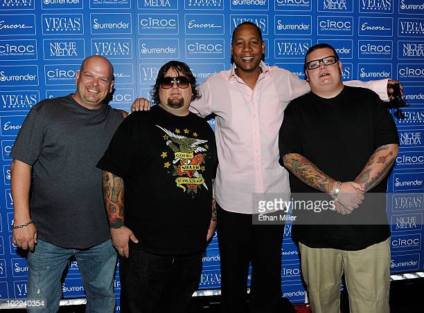 """Actor/comedian Mark Curry and Rick Harrison, Austin """"Chumlee"""" Russell, and Corey """"Big Hoss"""" Harrison from the television show """"Pawn Stars"""" arrive at..."""
