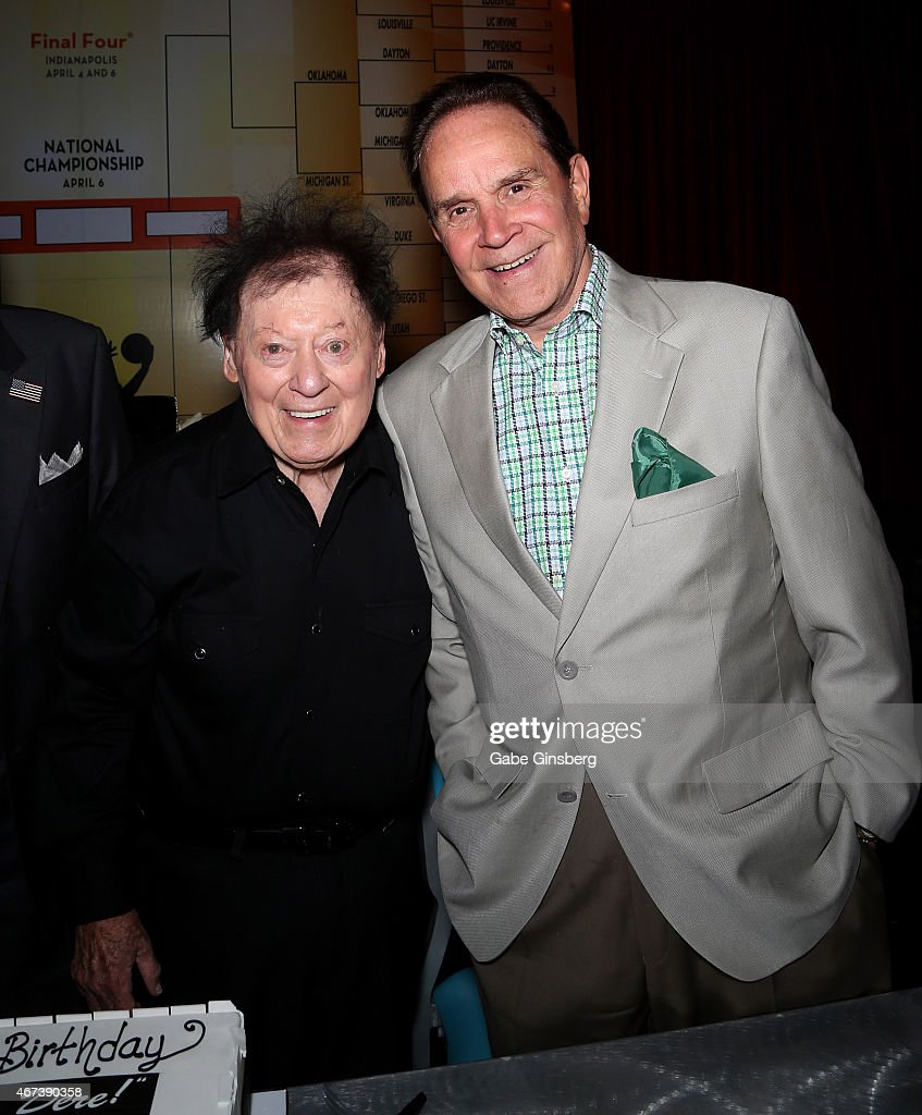 Actor/comedian Marty Allen (L) and impressionist Rich Little attend a meet and greet after Allen's performance at the Downtown Grand Hotel & Casino on March 23, 2015 in Las Vegas, Nevada.
