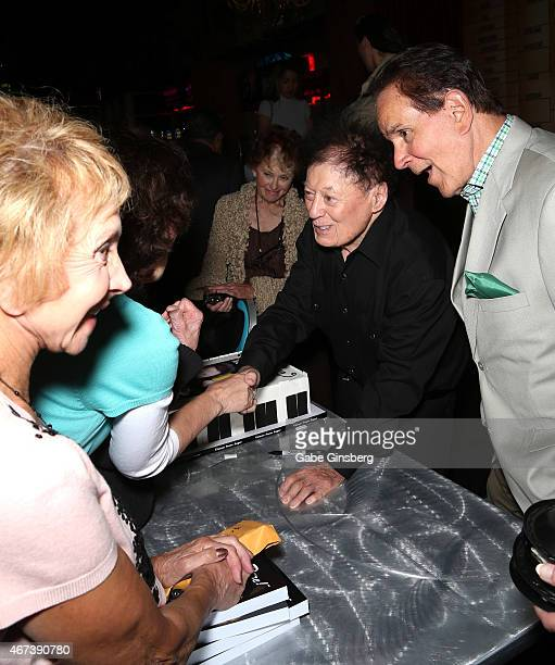 Actor/comedian Marty Allen and impressionist Rich Little greet fans during a meet and greet after Allen's performance at the Downtown Grand Hotel...