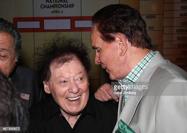 Actor/comedian Marty Allen and impressionist Rich Little joke around during a meet and greet after Allen's performance at the Downtown Grand Hotel...