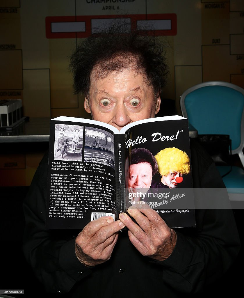 Actor/comedian Marty Allen jokes around during a meet and greet after his performance at the Downtown Grand Hotel & Casino on March 23, 2015 in Las Vegas, Nevada.