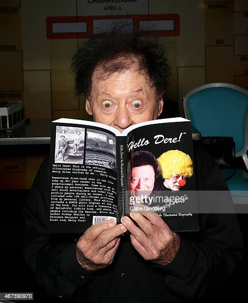 Actor/comedian Marty Allen jokes around during a meet and greet after his performance at the Downtown Grand Hotel Casino on March 23 2015 in Las...