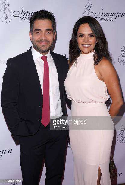 Actor/comedian Omar Chaparro and wife Lucia Ruiz de la Pena attend the 33rd Annual Imagen Awards at JW Marriott Los Angeles at LA LIVE on August 25...
