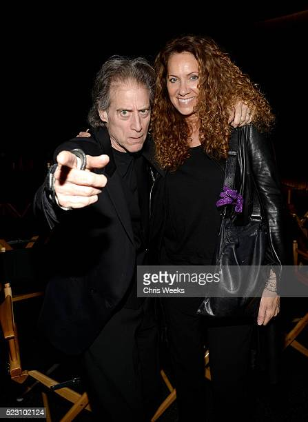 Actor/comedian Richard Lewis and Joyce Lapinsky attend the opening of REFUGEE Exhibit at Annenberg Space For Photography on April 21 2016 in Century...