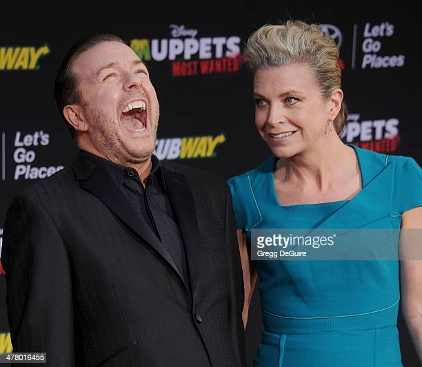 """Actor/comedian Ricky Gervais and author Jane Fallon arrive at the Los Angeles premiere of """"Muppets Most Wanted"""" at the El Capitan Theatre on March..."""
