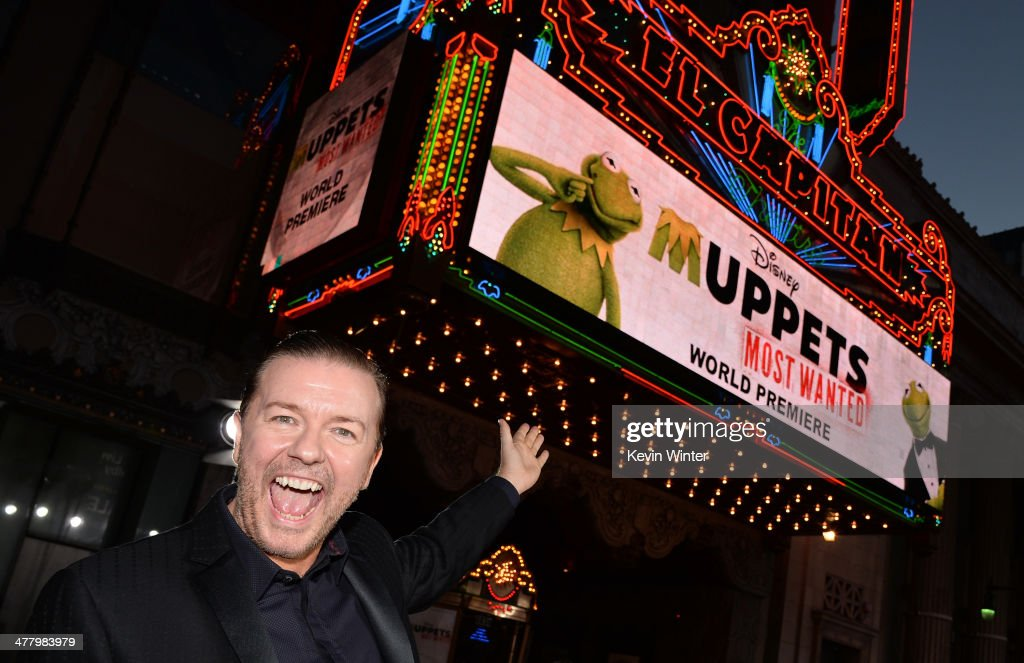 Actor/Comedian Ricky Gervais arrives for the premiere of Disney's 'Muppets Most Wanted' at the El Capitan Theatre on March 11, 2014 in Hollywood, California.
