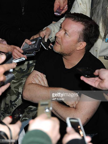 Actor/comedian Ricky Gervais speaks during the HBO portion of the 2010 Television Critics Association Press Tour at the Langham Hotel on January 14,...