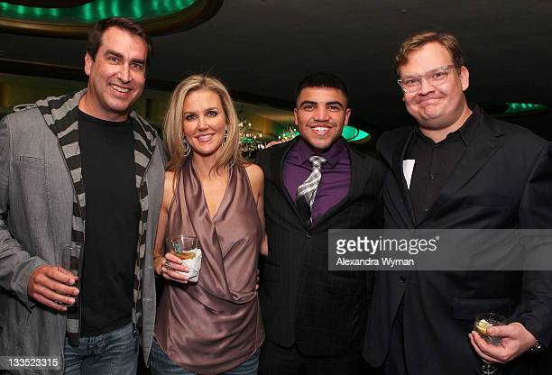 Actor/comedian Rob Riggle Tiffany Riggle boxer Victor Ortiz and actor/comedian Andy Richter pose in the VIP Lounge at Variety's Power of Comedy...