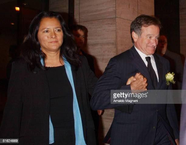 Actor/Comedian Robin Williams and with his wife Marcia leave the memorial for the late Christopher Reeve October 29 2004 held at the Julliard School...