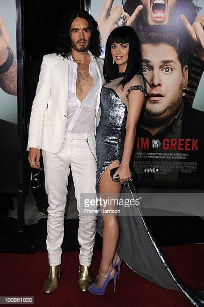 Actor/comedian Russell Brand and singer Katy Perry arrive at the premiere of Universal Pictures' 'Get Him To The Greek' held at the Greek Theatre on...