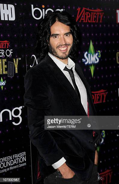 Actor/comedian Russell Brand arrives at Variety's Power of Comedy presented by Sims 3 in Partnership with Bing at Club Nokia on December 4, 2010 in...