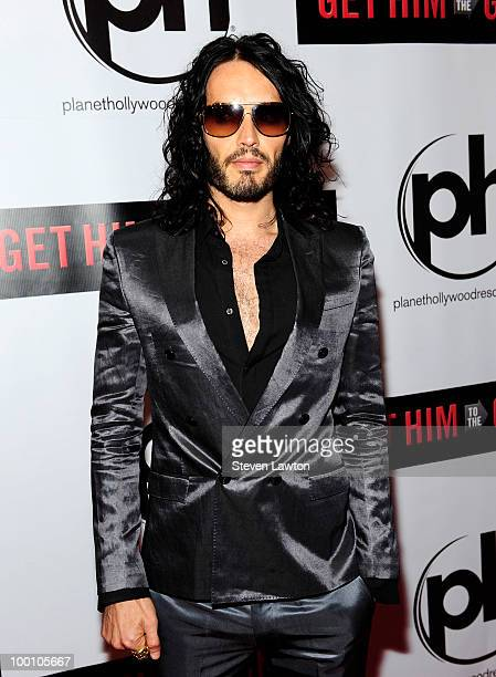 """Actor/comedian Russell Brand arrives for a screening of Universal Pictures """"Get Him to the Greek"""" at Planet Hollywood Resort and Casino on May 20,..."""