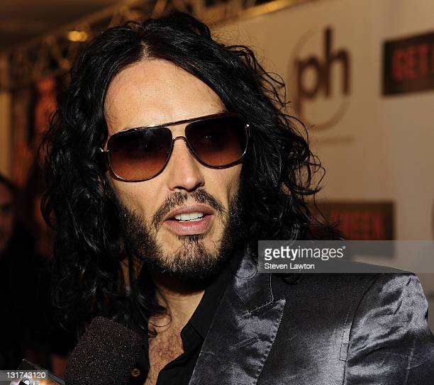 Actor/comedian Russell Brand arrives for a screening of Universal Pictures 'Get Him to the Greek' at Planet Hollywood Resort and Casino on May 20...