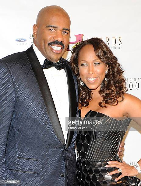 Actor/comedian Steve Harvey and his wife Marjorie Harvey arrive at the eighth annual Ford Hoodie Awards at the Mandalay Bay Events Center August 28,...