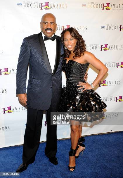Actor/comedian Steve Harvey and his wife Marjorie Harvey arrive at the eighth annual Ford Hoodie Awards at the Mandalay Bay Events Center August 28...
