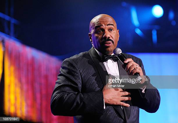 Actor/comedian Steve Harvey hosts the eighth annual Ford Hoodie Awards at the Mandalay Bay Events Center August 28 2010 in Las Vegas Nevada