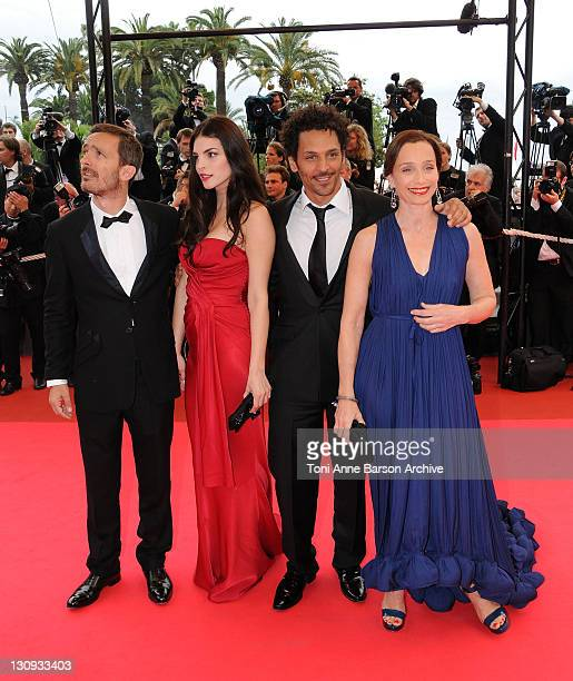 Actorcomedian Tomer Sisley actressmodel Bojana Panic director Jerome Salle and actress Kristin Scott Thomas attend Le Silence de Lorna premiere at...