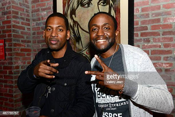 Actor/comedian Tony Rock and Byron Bowers attend South Beach Comedy Festival opening night party at Lucky Strike on April 3 2014 in Miami Beach...