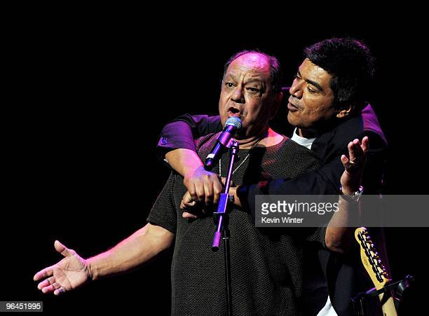 Actor/comedians Cheech Marin and George Lopez appear onstage at Help Haiti with George Lopez Friends at LA Live's Nokia Theater on February 4 2010 in...
