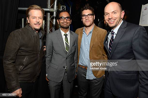 Actor/comedians David Spade Aziz Ansari Adam Pally and Paul Scheer pose backstage during Variety's 4th Annual Power of Comedy presented by Xbox One...