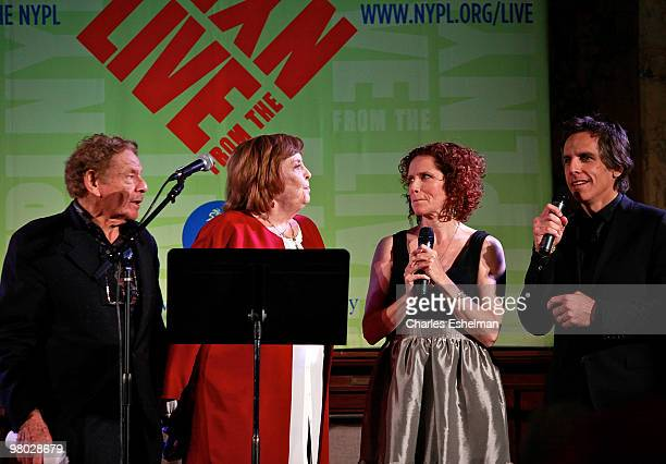 Actor/comedians Jerry Stiller Anne Meara Amy Stiller and Ben Stiller attends the George Carlin tribute at The New York Public Library on March 24...