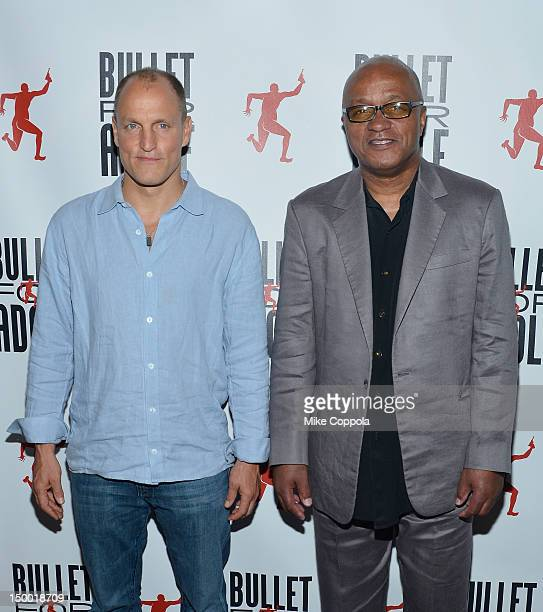 Actor/cowriter Woody Harrelson and cowriter Frankie Hyman attend Bullet For Adolf Off Broadway Opening Night at New World Stages on August 8 2012 in...