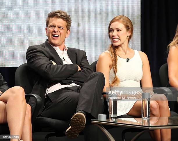 Actor/creator John Lehr and actor Alexia Dox speak onstage at the 'Quick Draw' panel during the Hulu portion of the 2014 Summer Television Critics...