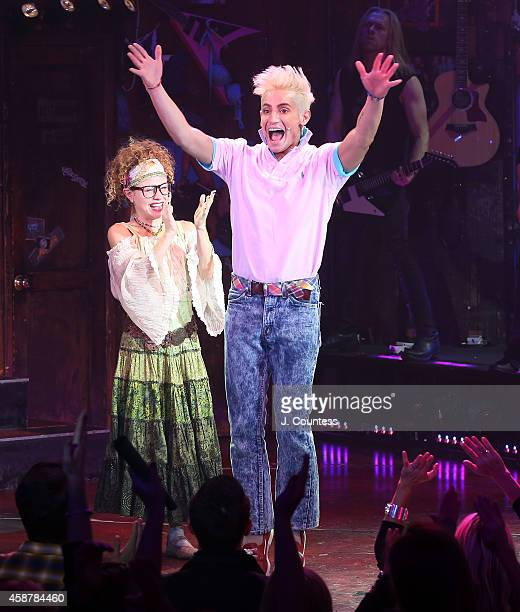 Actor/dancer Frankie J Grande takes a bow during the curtain call for his debut performance in the Broadway production of Rock Of Ages at Helen Hayes...