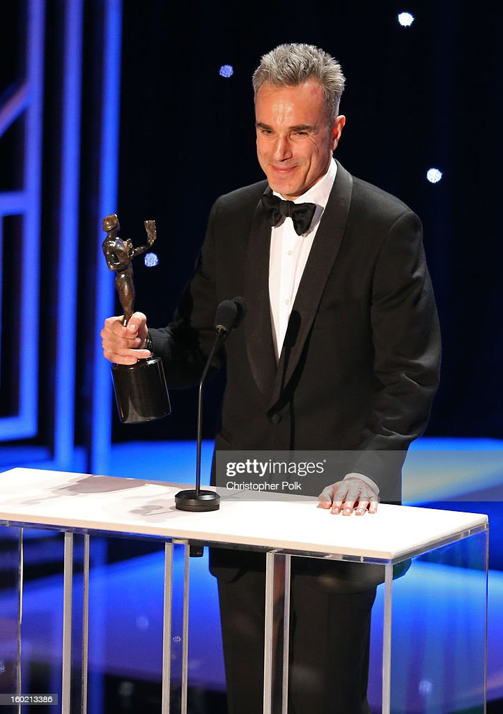 ActorDaniel Day Lewis accepts the award for Outstanding Performance by a Male Actor in a Leading Role onstage during the 19th Annual Screen Actors Guild Awards at The Shrine Auditorium on January 27, 2013 in Los Angeles, California. (Photo by Christopher Polk/WireImage) 23116_012_2079.jpg