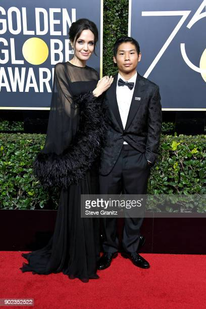 Actor/director Angelina Jolie and Pax Jolie-Pitt attend The 75th Annual Golden Globe Awards at The Beverly Hilton Hotel on January 7, 2018 in Beverly...