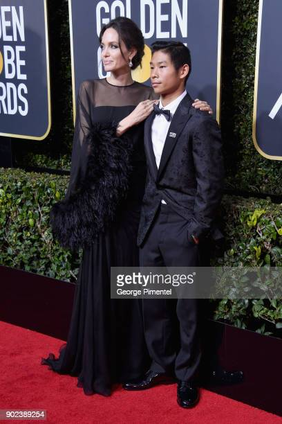 Actor/Director Angelina Jolie and son Pax Thien JoliePitt attend The 75th Annual Golden Globe Awards at The Beverly Hilton Hotel on January 7 2018 in...