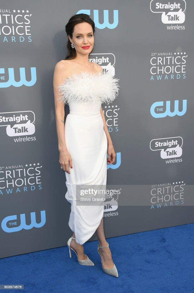 Actor/director Angelina Jolie attends The 23rd Annual Critics' Choice Awards at Barker Hangar on January 11, 2018 in Santa Monica, California.