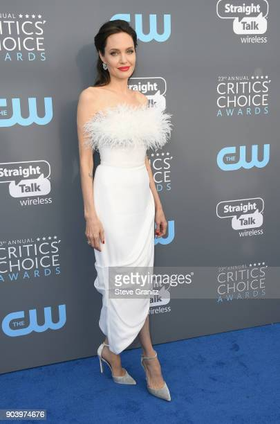 Actor/director Angelina Jolie attends The 23rd Annual Critics' Choice Awards at Barker Hangar on January 11 2018 in Santa Monica California